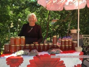 selling honey, raki and herbs